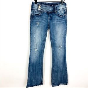 Vigoss | Crossover Button Distressed Flare Jeans